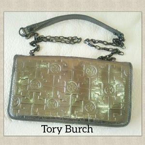 TORY Burch Clutch Handbag Dark Silver Leather Shou